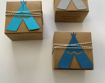 30 teepee favor boxes - adventure awaits baby shower  - custom boxes