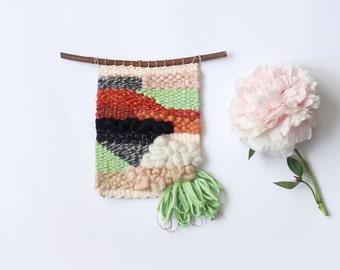 mini tissage rose, vert, rouille & gris