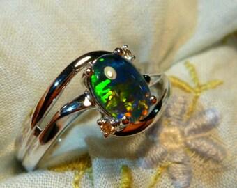 Opal Ring Ladies 14ct White Gold & Diamond 8x6 mm Oval Triplet item 110480.