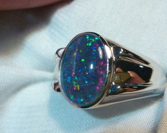 Mens Opal Ring Sterling Silver, Natural Opal Triplet. 13x9mm Oval. item 060729.