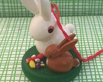 Handmade Wood Miniature Easter Bunny Rabbit Christian Ulbricht Collectible Wood Easter Ornament