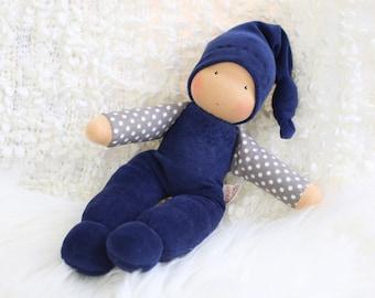 cuddle doll, dark blue/grey, 13 inch, soft doll, waldorf doll, steiner doll,