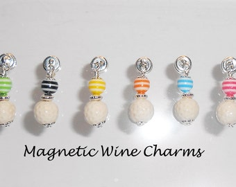 Stemless Wine Glass Charms, Magnetic Golf Ball Wine Glass Charms, Gifts for Golfer, Golf Wine Charms, Magnetic Stemware Charms
