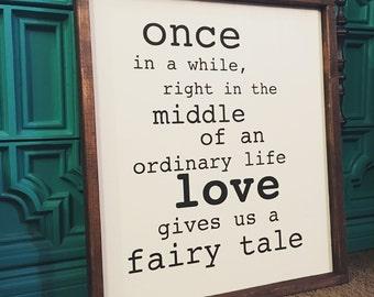 Fairytale painted wood sign