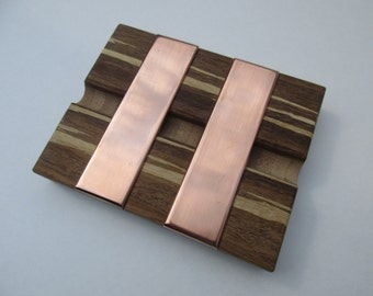 Large Tiger Strand Bamboo and Copper Soap Dish - Handmade