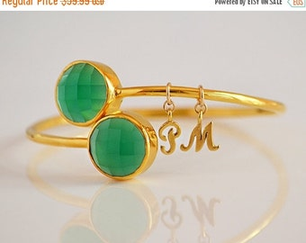 ON SALE Personalized Adjustable Green Onyx bezel bangle  -  initial letter charm two faceted stones, Gold or silver bracelet - May Birthston
