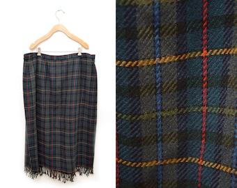 90s Navy Blue Green Plaid Wool Wrap Skirt Fringed Full Length Women's 22 Plus Size
