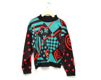 90s Geometric Abstract Multicolor Black Patterned Pullover Sweater Size Small