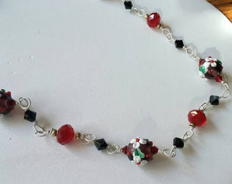 Brilliant Red and White Lampwork Glass Necklace unique wirework