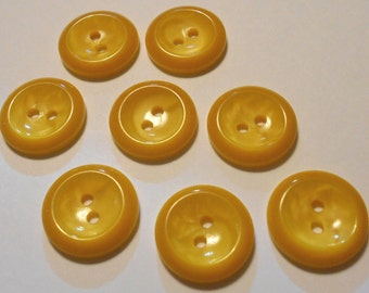 Set of 8 Old Gold Yellow Plastic Buttons-(  3/4 inch)-Item#282