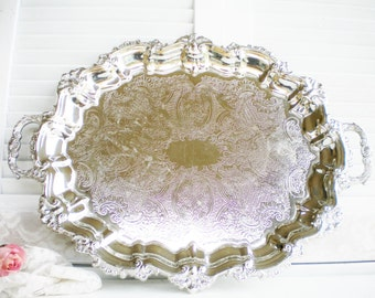 Shell Silverplate Tray With Handles /Footed Tray/Vintage Tray /Tea Tray/Vanity/Wedding Tray /Serving Tray/ Estate Sale/Glam/ 24 Inch