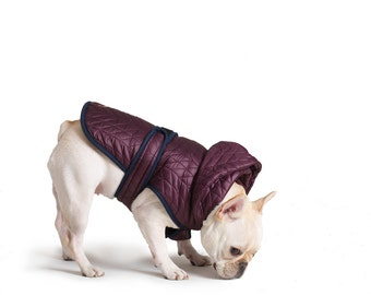 Quilted Nylon Puffer Jacket with Shearling Lining - Plum, Pet Apparel, Dog Jacket