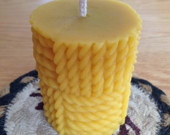 Nautical 2x3 pure beeswax pillar candle.