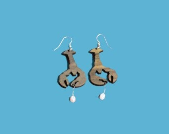 Party Animals  - wooden lobster earrings with pearl