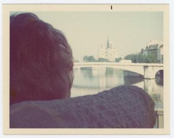 Vintage Snapshot Photo: Contemplating Notre Dame, Paris c1960s-70s (611521)