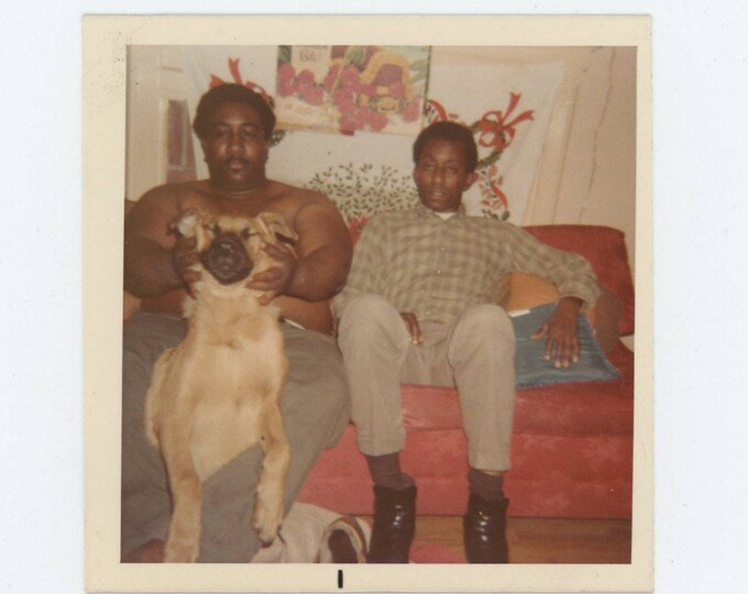 Vintage Snapshot Photo: Two Men & a Dog (73557)