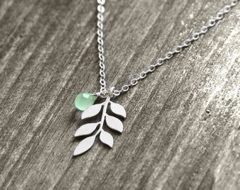 ASH LEAF Necklace with leaf and jewel | silver