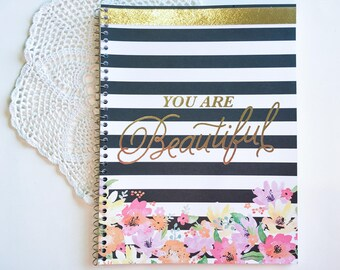 """Spiral notebook with title """"You are Beautiful"""" in gold foil"""