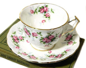 Aynsley Bone China Grotto Rose Teacup and Saucer
