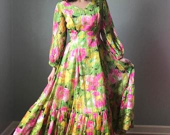 Vintage 70s Floral Chiffon Princess Gown