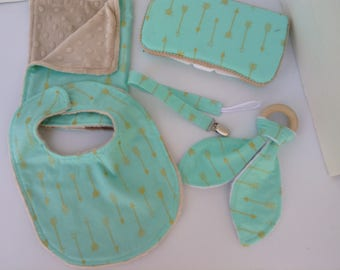 A New Baby Gift Set, Bibs and Burps ,Wooden Ring Teether,Paci Clips ,Arrow wipescase, Baby Shower gifts ,Gender Neutral items.
