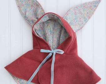 "Wool Bunny Eared Doll Cape or Capelet, Short Version, Fits 16-20"" Waldorf Dolls, All Natural"