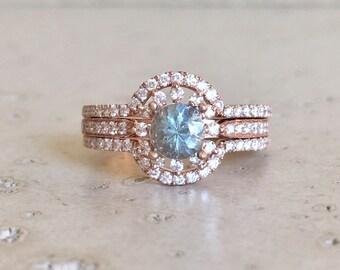 Aquamarine Engagement Ring Set- Aquamarine Engagement Ring Rose Gold- 14k Floral Engagement Ring- Aquamarine Bridal Set Wedding Rings