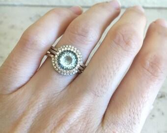 Round Aquamarine Engagement Ring- Rose Gold Aquamarine Engagement Ring Set- Aquamarine Bridal Set Ring- Aquamarine Halo Wedding Ring Set