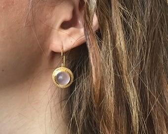 White Topaz with Pink Quartz Earrings- Rose Quartz Earrings- Gold Pink Quartz Earrings- White Topaz Earrings- Gemstone Dangle Earrings