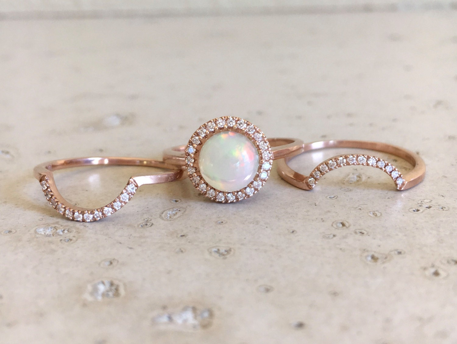 round opal engagement ring rose gold opal engagement ring set genuine opal bridal set - Pearl Wedding Ring Sets