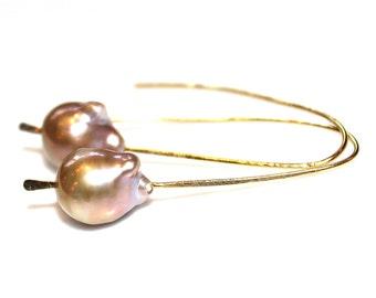 Rainbow Pondslime Baroque Pearl Earring Floating Pearl Large Pearl Earring Minimalist Earring Simple EarringsPearl Jewelry Artisan Jewelry