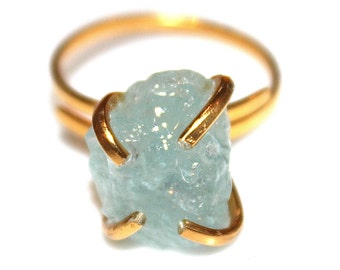 Rustic Aquamarine Ring Modern Ring Raw Aquamarine Ring Aquamarine Jewelry Gold Vermeil Ring Adjustable Ring Delicate Ring Modern
