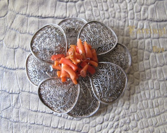 CHINESE EXPORT Silver Lace Filigree & Branch Coral Flower Brooch Pin/Signed Stamped Hallmarked Vintage Chinese Silver Jewelry Asian Oriental