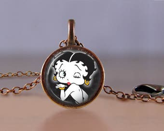 Lucky Penny Necklace Jewelry - Betty Boop 1 - One Cent Jewelry - Choose Chain Length - Betty Boop Jewelry - Lucky Penny Necklace