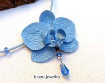 Light Blue Necklace, Orchid Necklace, Statement Necklace, Flower Necklace, Blue Jewelry, Floral Necklace, Wedding Jewelry, Women Gift