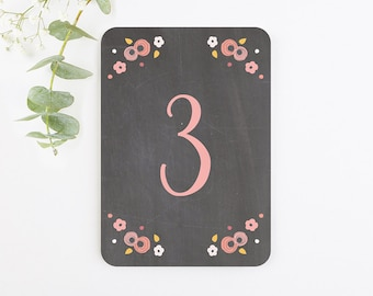 Berry Floral Chalkboard Table Number