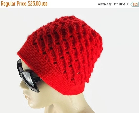 SALE Bright  Red crochet hat with flower, womens knit hat, Fashion winter Hat, Gift For Her