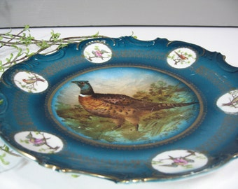 Blue Decorative Pheasant Plate, Wall Decor, Country, Cottage, Rustic, Hunting Lodge, Germany