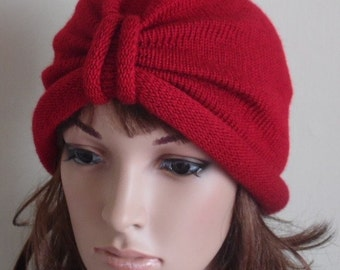 Red turban, knitted turban hat for women, handmade women's hat, winter turban, retro style turban, knitted from lambswool & acrylic blend