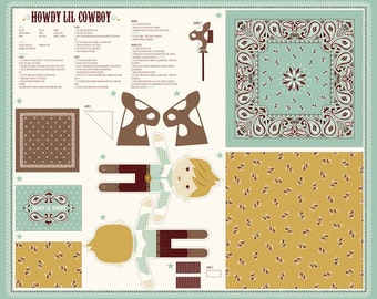 New - HOWDY Boy Doll Panel with 15 Fat Quarters Fabric to Match by Stacy Iest Hsu for Moda