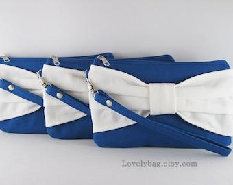 SALE - Royal Blue with Ivory Clutch / Bridal Clutch / Bridesmaids Clutch / Wedding Clutch | 9.90 USD per piece.