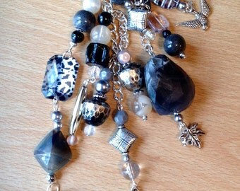 Journal & Bag Charm Beaded Cluster Dangle  Smokey Grey's