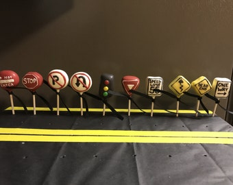 Road sign cake pops