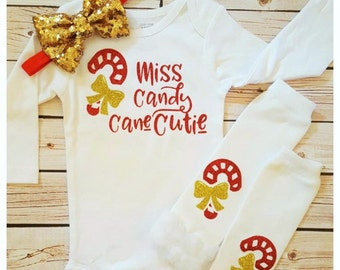 Baby girl Miss Candy Cane Cutie outfit,Christmas candy cane leg warmers,Christmas,Christmas Onesie,Baby Girls Christmas,Christmas Gift