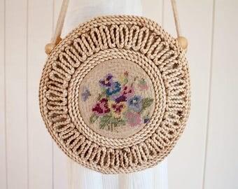 1950s Vintage Bohemian Straw Carpet Purse Handbag Boho Shoulder Bag