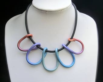 Pastel rainbow snake necklace with rubber or white leather cord/ polymer clay white tube wounden in loops/ choose base chain