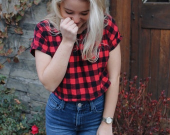 Ready to Ship in size small- Flannel Shirt, Happy Camper Tees, Crop Top, winter flannel, tshirt for women, crop tee, plaid flannel, chri
