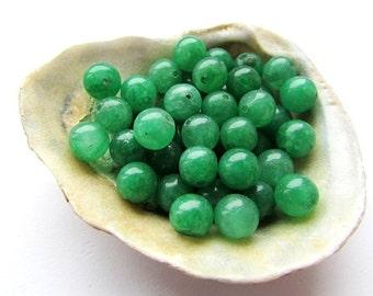 Green Jade Beads 6 mm Emerald Green Jade Gemstone Semiprecious Stone Beads Jewelry Supplies (22)