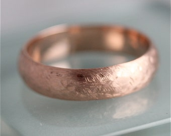 Rose Gold Ring Rustic Wedding Ring 14k Solid Rose Gold 5mm Men's Band Half Round Ring Recycled Gold Rose Gold and 18k Option