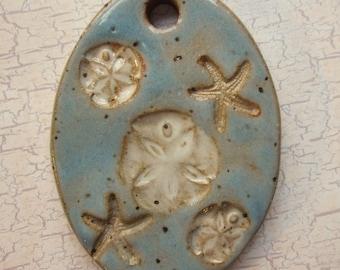 Large Glazed Pottery Pet Cremains Motif Pendant or Ornament - Custom Memorial Pet Cremation Keepsake -  SAND DOLLARS and STARFISH